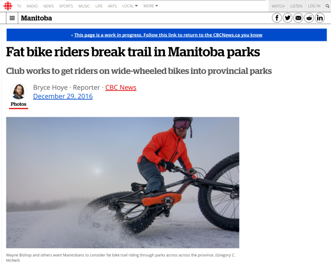 CBC Reports on fatbikers breaking trail in MB Parks – interview with Wayne Bishop