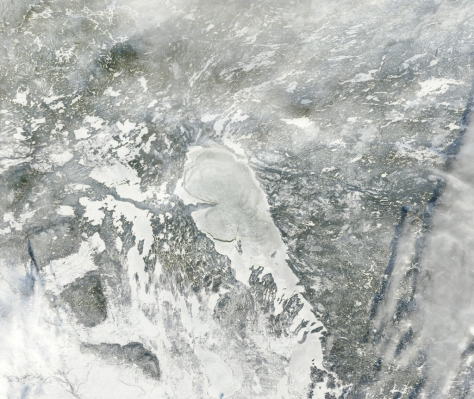 Satellite image of Lake Winnipeg - courtesy Bradley D. Paul. Bradley is a physicist who works on imaging for Google Earth.