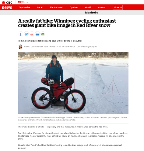CBC 15 Jan 18 Report - Really Big Fatbike on the River Pic 1