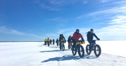 Fatbikers riding out onto Lake Wpg 3 Mar 18 cropped