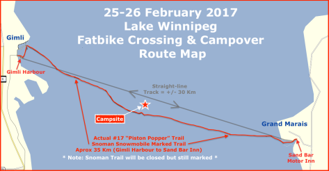 2017 Lake Wpg FB Crossing & Campover Map -Snowman #17 Trail