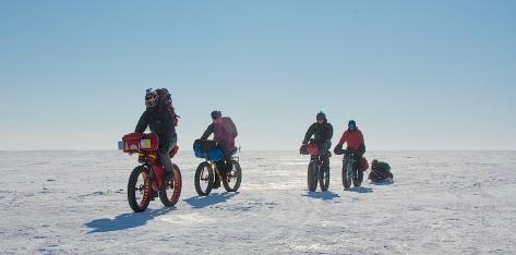 4 Fatbike Riders on Lake Winnipeg - 4 Mar 17 - Tom, Alfred, David & Bradley