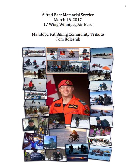 Alfred Barr Memorial Service – Tom Kolesnik Fatbiking Community Tribute - Pg 1
