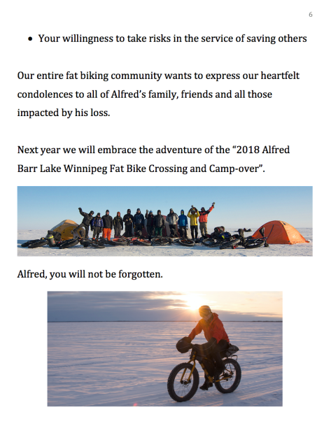 Alfred Barr Memorial Service – Tom Kolesnik Fatbiking Community Tribute - Pg 6