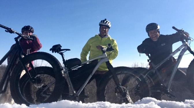 Brandon Hills:  Marty, Rick & Christa hit the Fatbike Trails