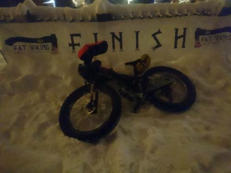 Fat Viking 2018 Banner - Nina Gassler's Bike at finishline
