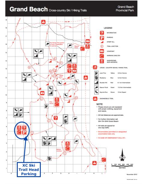Grand Beach Prov Park Map - XC Ski Trails