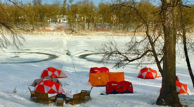 Setting up at 'Tent City' Campsite on the Red River:  Lake Winnipeg Team Leaders Prepare