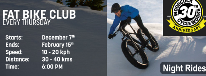 Invite to WCW's Fat Bike Club Ride – 6 PM Thurs 25 Jan 2018