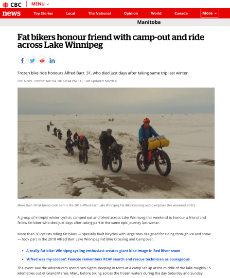CBC News - 5 Mar 18 - Fatbikers Honour Friend w Camp-out & Ride on Lake Wpg - 1