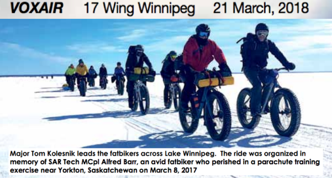 "17 Wing Air Base Newspaper:  ""Fatbikers Ride to Remember SAR Tech MCpl Alfred Barr"""