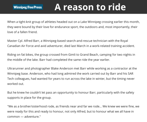 Wpg Free Press Article 31 Mar 18 - Lake Wpg Alfred Barr FB Adventure - Blake Anderson Pics 1